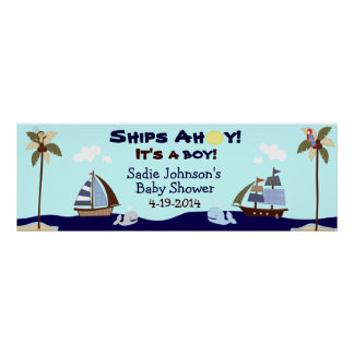 Ships Ahoy Nautical Baby Shower Banner Poster