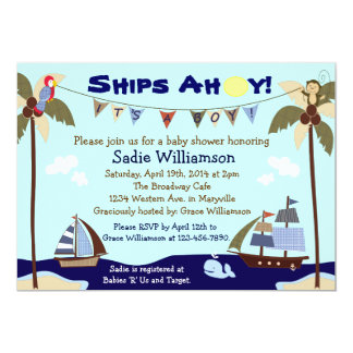 Ships Ahoy Nautical Baby Shower Invitation