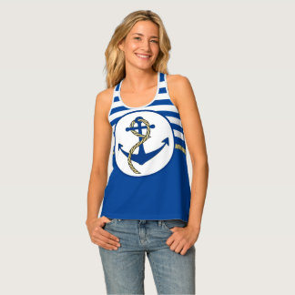 Ship's Anchor and blue stripes Tank Top
