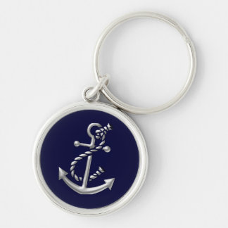 Ship's Anchor Nautical Marine-Themed Gift Silver-Colored Round Keychain