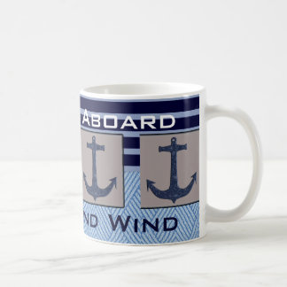 Ship's Anchor & Nautical Stripes Your Boat name Coffee Mug