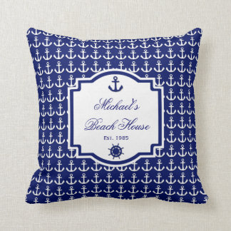 Ship's Anchor Navy Blue Nautical Pillow