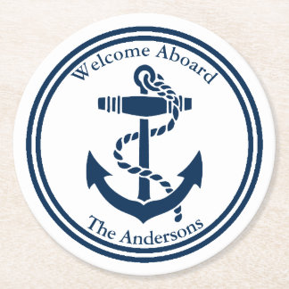 Ship's Anchor Personalize Round Paper Coaster