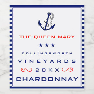 Ships Anchor With Yacht Name Nautical Wine Label