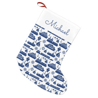 Ships And Boats At Sea Pattern | Add Your Name Small Christmas Stocking