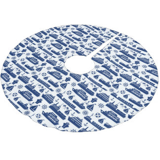 Ships And Boats At Sea Pattern Brushed Polyester Tree Skirt