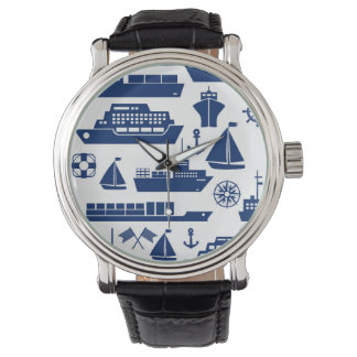Ships And Boats At Sea Pattern Wristwatch