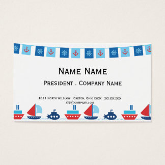 Ships and Pennants in Red and Blue Business Card