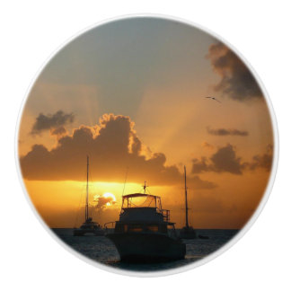 Ships and Sunset Tropical Seascape Ceramic Knob