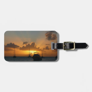 Ships and Sunset Tropical Seascape Luggage Tag