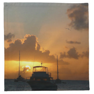 Ships and Sunset Tropical Seascape Napkin