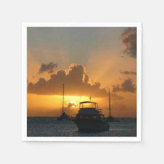 Ships and Sunset Tropical Seascape Paper Napkins