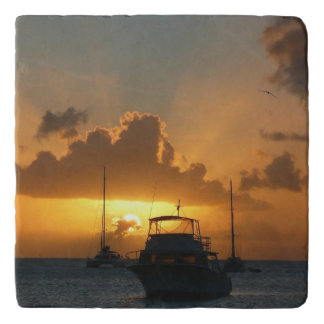 Ships and Sunset Tropical Seascape Trivet