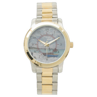 Ships Boat Beach Claude Monet Nature Peace Destiny Wristwatch
