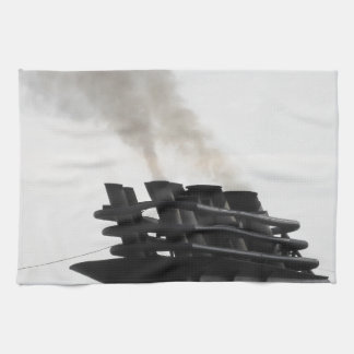 Ships funnel emitting black smoke in the sky hand towels