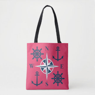 Ship's Helm Anchor & Compass Navy Dragon Fruit Red Tote Bag