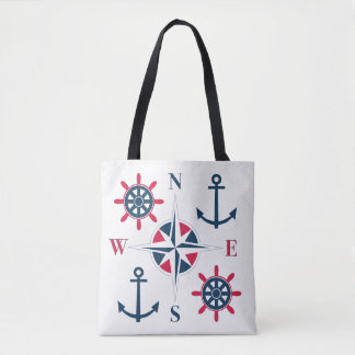 Ship's Helm Anchors Compass Navy Red White Tote Bag