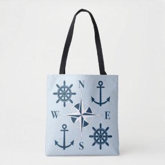 Ship's Helm Anchors & Compass Navy & Sky Blue Tote Bag