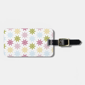Ships helm pattern luggage tag