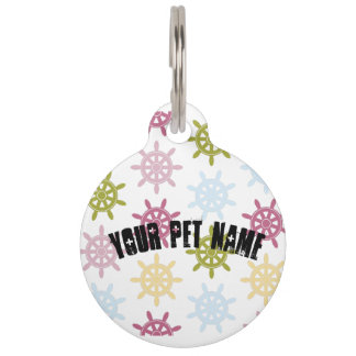 Ships helm pattern pet name tag
