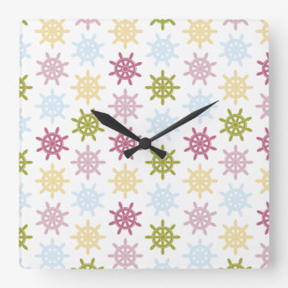 Ships helm pattern square wall clock