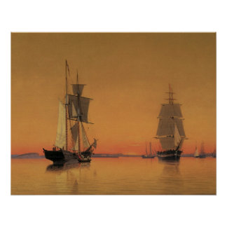 Ships in Boston Harbor at Twilight 1859 Poster