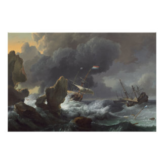 Ships in Distress off a Rocky Coast Poster