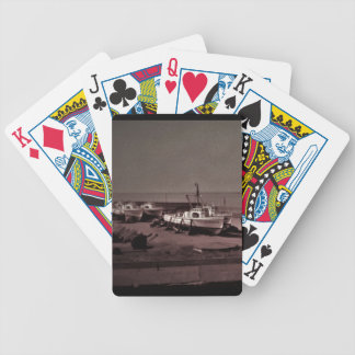 Ships in drydock, b & w 1950s  photographic image bicycle playing cards
