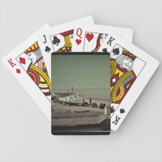 Ships in drydock, b & w 1950s  photographic image playing cards