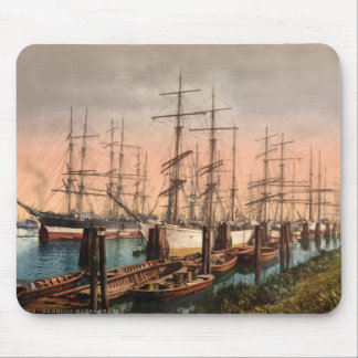 Ships in Hamburg Harbour, Germany Mouse Pad