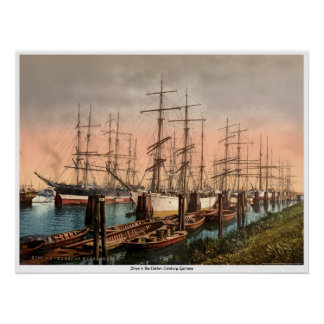 Ships in the Harbor, Hamburg, Germany Poster