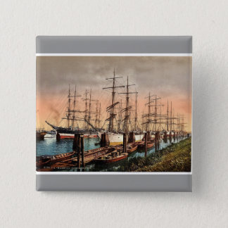 Ships in the Harbor, Hamburg, Germany rare Photoch 2 Inch Square Button