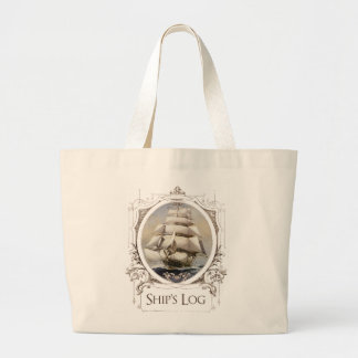 Ship's Log, Vintage Sailing Vessel Large Tote Bag