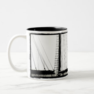 Ship's Masts Camden, Maine B&W Two Tone Mug
