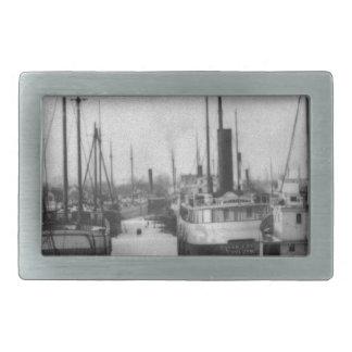 Ships on the Belle River Marine City Michigan Rectangular Belt Buckle