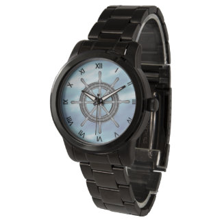 Ships Wheel Nautical with Roman Numerals Watch