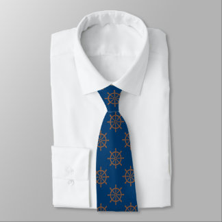Ships Wheel Pattern Nautical Navy Blue Tie