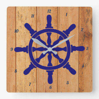 Ship's Wheel with Number on the Outside Square Wall Clock