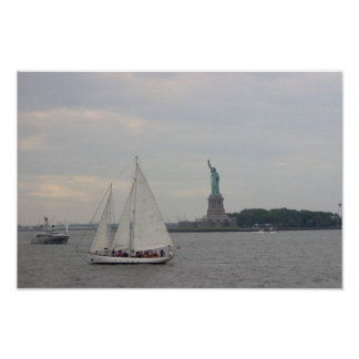 Ships with Statue of Liberty Poster