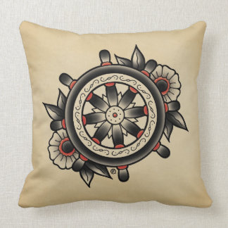 Shipwheel Tattoo Flash Throw Pillow