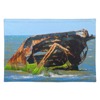 Shipwreck Abstract Blue Placemat