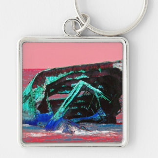 Shipwreck Abstract Pink Silver-Colored Square Keychain