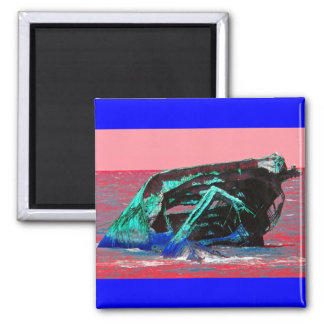 Shipwreck Abstract Pink Square Magnet
