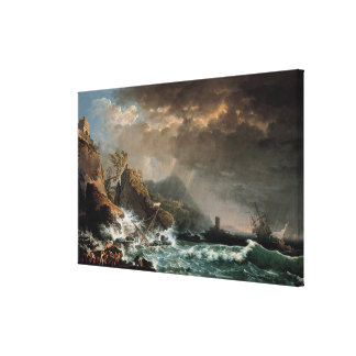 Shipwreck in a Rocky Inlet Canvas Print
