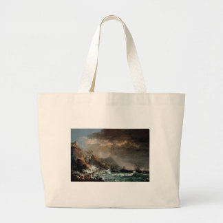Shipwreck in a Rocky Inlet Large Tote Bag