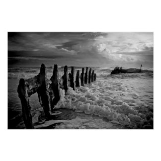 Shipwreck in Dramatic Ocean Froth Poster