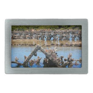 Shipwreck in the mangroves rectangular belt buckle