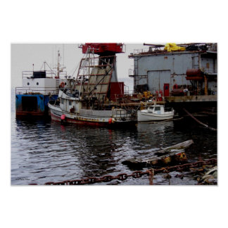 Shipyard Boats in Dutch Harbor, Alaska Poster