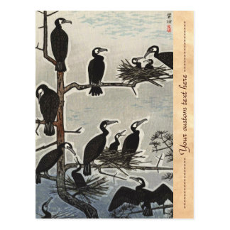 Shiro Kasamatsu Gathering of Cormorants ukiyo-e Postcard