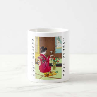 Shiro Kasamatsu Ikebana japan flowers lady scene Coffee Mug